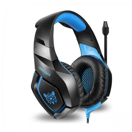 Casti gaming stereo Onikuma K1B Blue, USB si Jack 3.5 mm