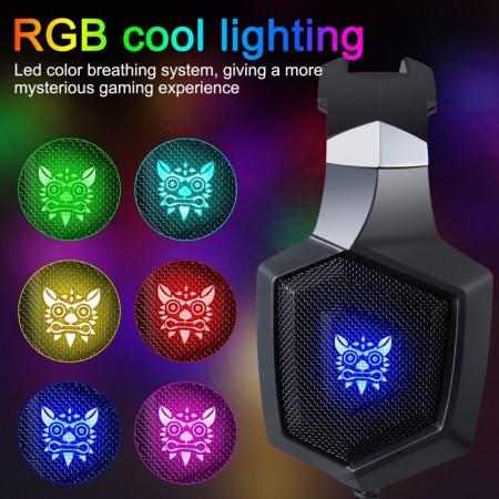 Casti gaming Onikuma K8 Bass Vibration, RGB, Surround 7.1