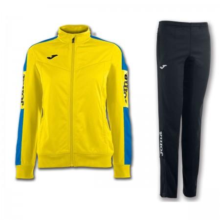 Trening dama Joma Champion IV bluza galben/albastru, pantalon negru